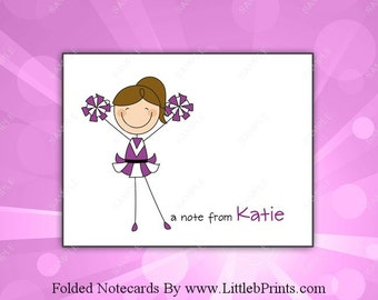 Purple Cheer Cheerleader Note Cards Set of 10 personalized flat or folded cards