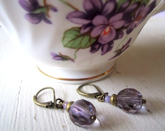 Amethyst Drop Earrings: Czech Glass and Antique Brass