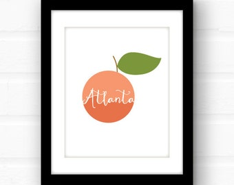 Atlanta art | Atlanta print | Atlanta poster | Georgia peach | Atlanta Georgia art | southern decor | peach decor | Georgia print