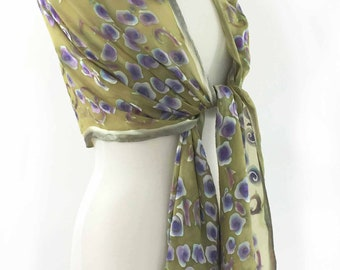 Hand Painted Silk Scarf, Silk Chiffon Shawl, Silk Devore burnout Roses , Hand Dyed Yellow Purple