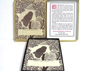Vintage Owl Art Bookplates 2 Boxes/  Antioch Bookplate Company/ One Box is Sealed EUC