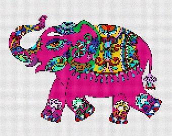 Needlepoint Kit or Canvas: Elephant In Celebration