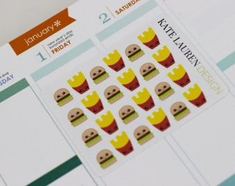 Kawaii Planner Stickers, Burger Stickers, Kawaii Food Stickers, Erin Condren Planner Stickers, Kawaii Stickers, Cute Food Stickers