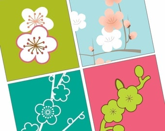 Gorgeous Japanese Blossoms -(1x1) One Inch (25mm) Pendant Images -Buy 2 Get 1 Free -Instant Download -Printable Digital Square Image Collage