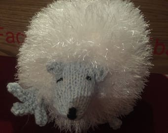 White fluffy tinsel knitted hedgehog child friendly blue face soft touch christmas hedgehog soft stuffing typical uk hedgehog style
