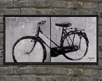 original oil painting, painting,bicycle painting,black and white modern abstract painting,famed,huge 40''