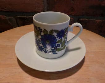Porcelain espresso cup and saucer, demitasse blue and white porcelain coffee cup/espresso cup, Terra