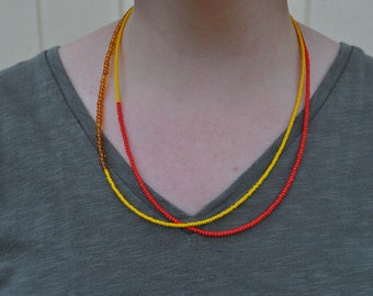 Beaded Necklace - Red, yellow and orange