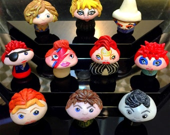 OOAK David Bowie Inspired Mini Character Pop Culture 'Shrooms - Handpainted Polymer Clay Miniature Sculptures