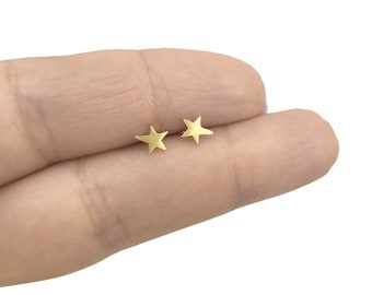 Stars stud earrings gold over sterling silver, Stars earrings, Gold studs, Matt earrings, Cartilage studs,Kids earrings, Tiny studs