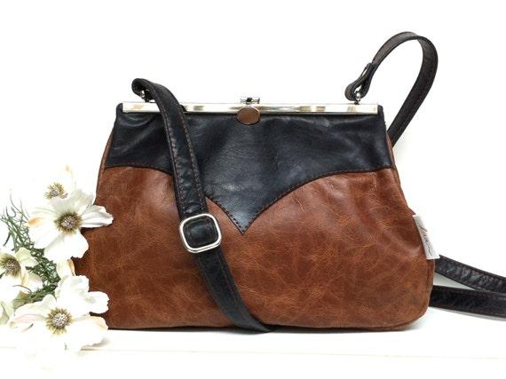 "Leather bag , leather handbag , handbag, blue leather shoulder bag , bag with strap , handbag with snap,Kaa berlin, ""SAPHIR"""