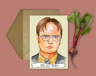 """Dwight Schrute """"Bears, Beets, Birthday"""" The Office TV Show Birthday Card (The Office, Dwight Schrute, Birthday Cards, Funny Birthday Card)"""
