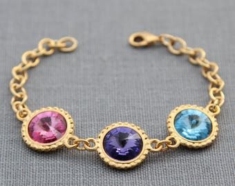 Birthstone Bracelet, Mother's Bracelet, Birthstone Jewelry, Gold, Crystal Grandmother's Bracelet