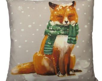 Christmas Fox | Throw Pillows | Fox Pillow Cover | Christmas Pillow | Snow Fox | Christmas Gift | Fox with Scarf | Red Fox Pillow | Red Fox