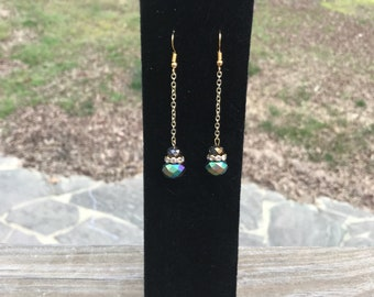 Blue and Purple Iridescent Gold Chain Earrings