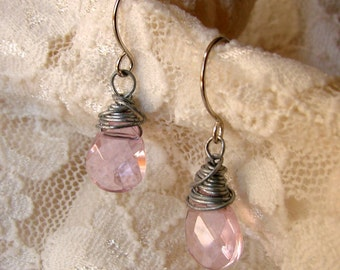 Pink Briolette Wire Wrapped Earrings - Pastel Pink Earrings - Pink Earrings - Pink Jewelry - Wire Wrapped Jewelry - Wire Wrapped Earrings