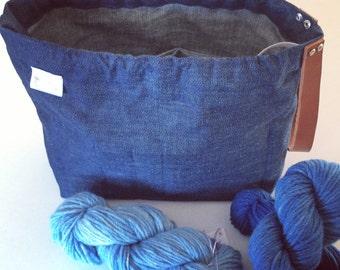 Denim knitting bag / crochet bag / weaving project bag / knitting / project bag / gift for mum / gift for her handmade by Waffle & Weave