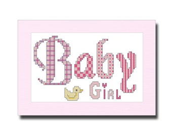 New Baby Girl, Cross Stitch Kit, Card Kit, With 'Made With Love' Charm