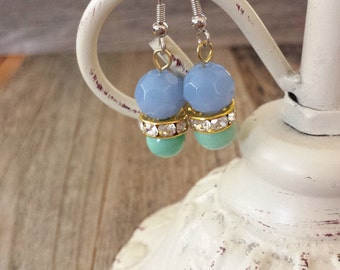 Periwinkle jewelry, seafoam jewelry, turquoise jewelry, turquoise earrings, lavendar jewelry, spring jewelry, spring earrings, rhinestone