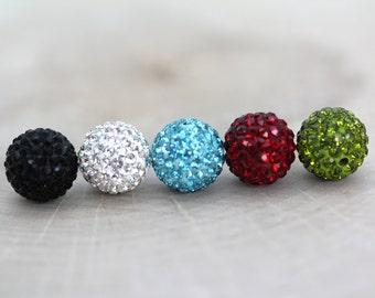 12mm Rhinestone Pave Clay Beads, 1 pair