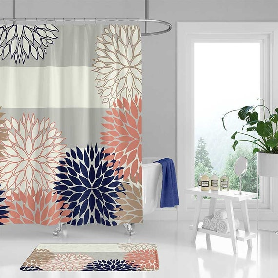 Shower Curtain And Bathroom Rug With Floral Striped