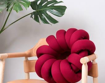 Red Knot pillow , Knot Pillows, knot cushions,  Red modern pillow, nursery decor, Stripes cushion, Red throw pillow