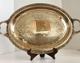 Vintage Wm Rogers & Sons Silverplate Victorian Rose 1981 24 Inch Two Handle Tray
