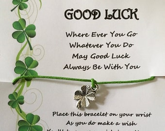 Good luck, four, leaf, clover, shamrock, may good luck always be with you quote, competition, exam,  bracelet, wish, charm, card, gift, poem