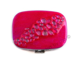 Oval Metal Pill Box with Mirror Chrome Hand Painted Enamel Fuchsia Inlaid with Recycled GlassCustom Colors and Personalized Options