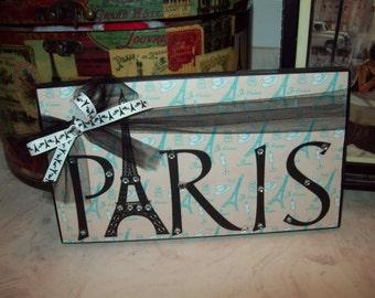 PARIS sign cream blue Paris decor, Eiffel Tower, Paris bedroom decor, Paris theme, Paris girls room, Paris nursery decor, French bedroom
