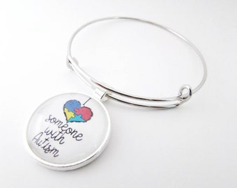 Autism awareness bracelet - autism puzzle piece heart - autism charm bracelet - I love someone with Autism - I heart someone with Autism