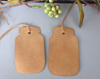 Coffee Stained Mason Jar Hang Tags Small Primitive Strung Gift Tags