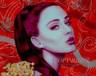 """Original Art Print of acrylic painting of Katy Perry 11 1/2"""" L X 10 3/4"""" H on 11"""" X 17"""" matte art paper"""