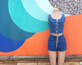 Vintage 1990s Denim Jean Lace Up Top/Shorts Set (Size 10 Women)