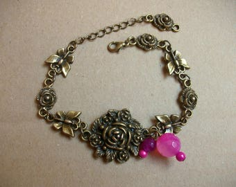 Bracelet pink and bronze butterflies, pink and fuschia agate