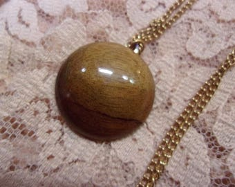 Full Moon Myrtle Wood Pendent Necklace