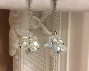 Beautiful Vintage Iridescent Crystal Dangle Clip-On Earrings