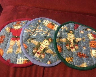 Scarecrow potholders (set of 3) red, blue and green trim