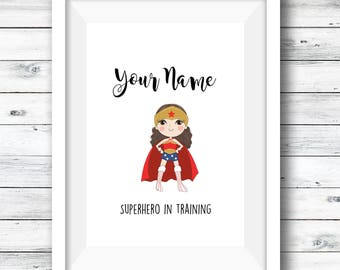 Printable personalised superhero print, girls room, gift for girls, custom bundle, fan art, custom print, girls artwork, custom