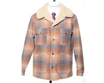 Vintage PENDLETON High Grade Western Wear Plaid Wool Blanket Faux Shearling Trim Coat Jacket Size M