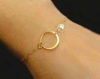Dainty Pearl Bracelet, Eternity Circle Rose Gold Infinity Bracelet, Freshwater Pearl Bridesmaid Jewelry Gift Silver, June Birthstone