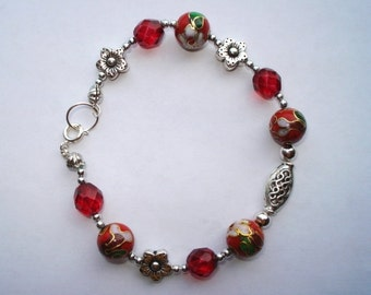 Red Cloisonne Bracelet (Free Shipping)