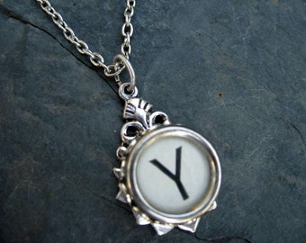 Typewriter Key Jewelry - Typewriter Necklace - Letter Y - Typewriter Charm - Vintage Key