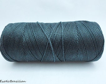 Macrame thread, 1 spool, Linhasita GREY no209, whole spool of 188yards, waxed polyester cord, 16yards, dark grey waxed thread, grey thread