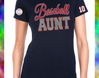 Baseball AUNT Custom Shirt, Baseball Aunt Glitter Vinyl Shirt, Baseball Aunt Bling Tee