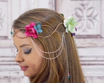 Elven Crown, Elven Headdress, Rainbow Elven Flower Crown with Silver Detail, Fantasy Headpiece, Headdress, Cosplay, Costume Headpiece, Fairy