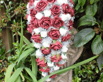 Artificial Burgandy, Ivory and Silver Bridal Cascade Bouquet. wedding flowers, Burgandy and white roses, silver gypsohilia and diamante