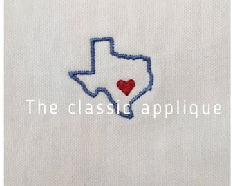 mini texas with heart embroidery design file 1.5 inch