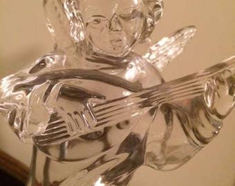 Vintage Mikasa Herald Collection Angelic Lute Lead Crystal Germany Figurine Votive