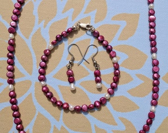 Kamadeva Pearl Jewelry Set - Pearl Bracelet Necklace Earring Set Jewelry Set Elegant Pink Pearl